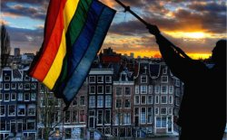 Gay flag over Amsterdam