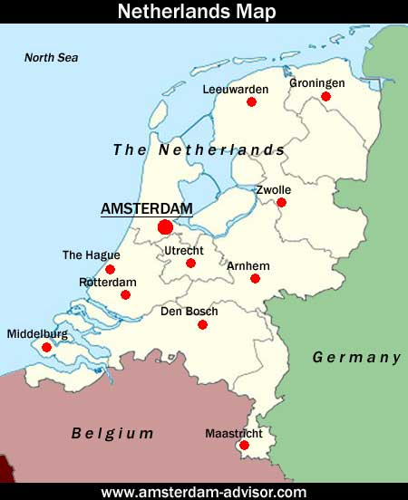 Map of the Netherlands showing Amsterdam's location