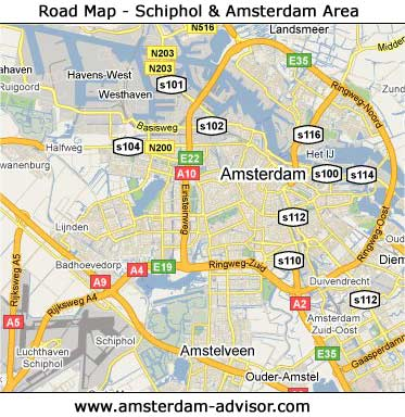 road map Schiphol and Amsterdam area