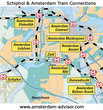 train connections from Schiphol Airport to Amsterdam