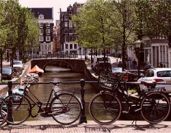 Bikes along Amsterdam's canals
