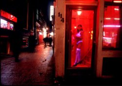 Window prostitute in the Amsterdam red light district
