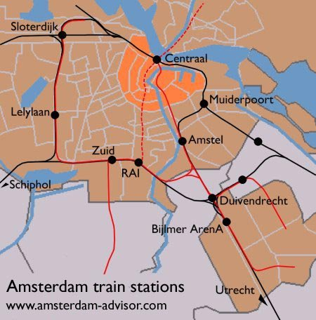 Amsterdam train stations map