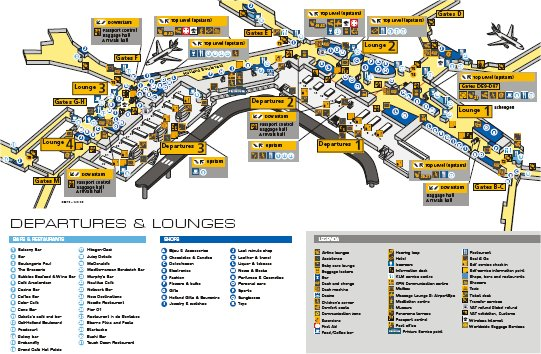 kart over schiphol flyplass Schiphol Airport Map   Free Downloadable Map of Amsterdam Airport kart over schiphol flyplass